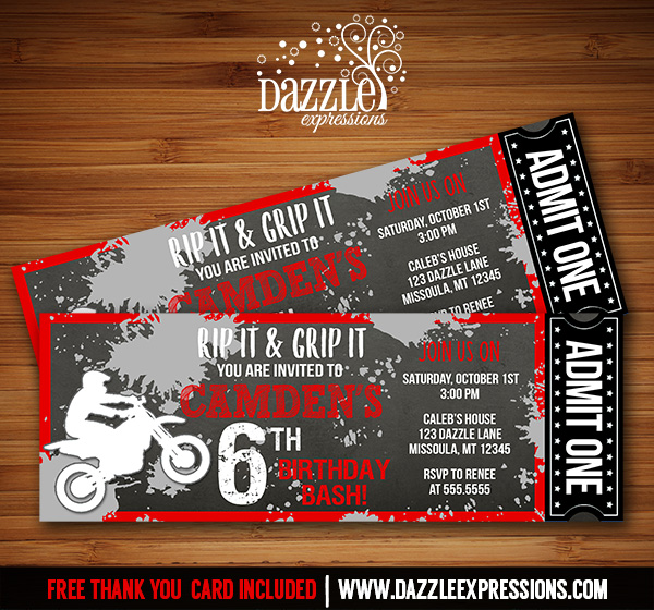 Printable Chalkboard Dirt Bike Ticket Birthday Invitation