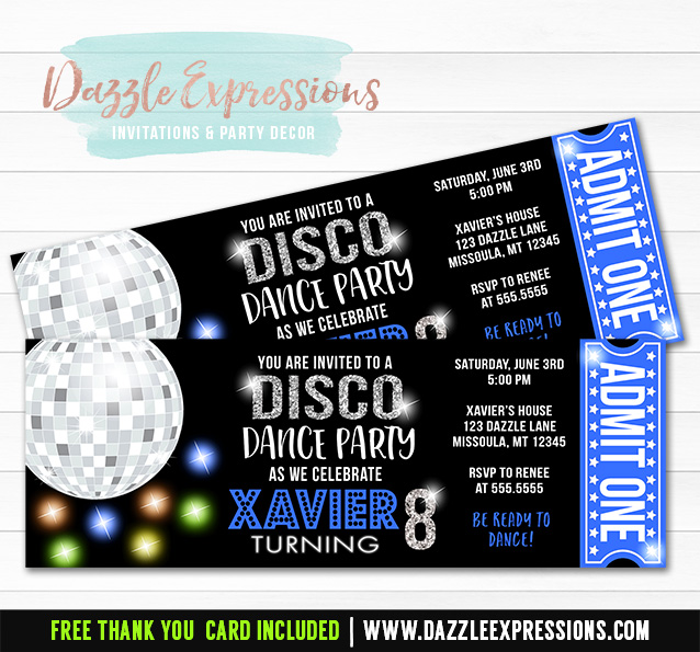 Disco Dance Ticket Invitation 2 - FREE thank you card