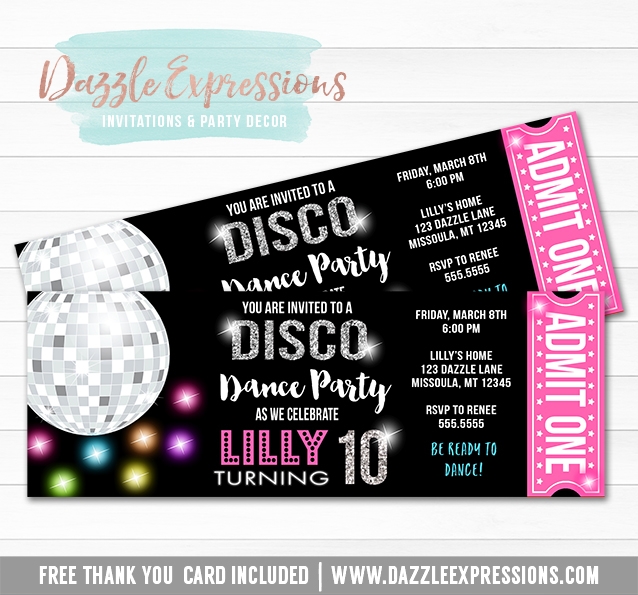 Printable Disco Dance Birthday Ticket Invitation Girls