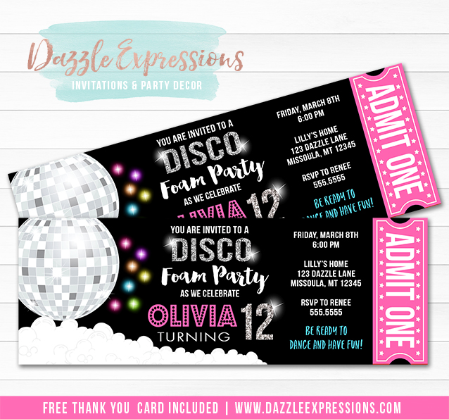 Disco Foam Party Ticket Invitation - FREE thank you card