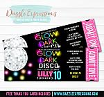 Glow in the Dark Disco Ticket Invitation 1 - FREE thank you card