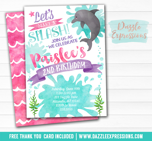 printable watercolor dolphin birthday invitation under the sea