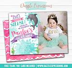 Dolphin Watercolor Invitation 2 - FREE thank you card and back design