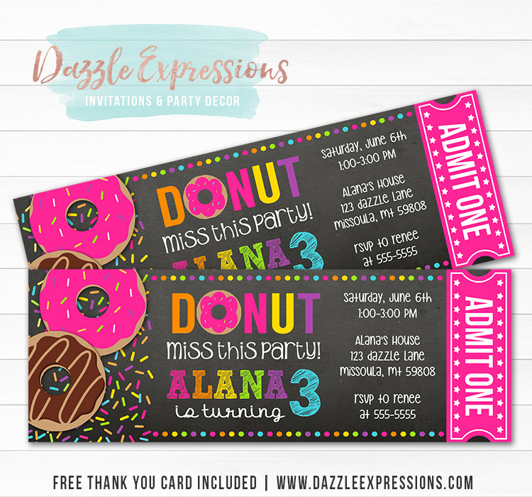 Donut Chalkboard Ticket Invitation - FREE thank you card included