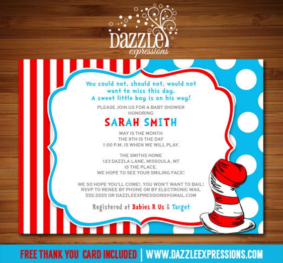 Printable dr seuss inspired baby shower invitation cat in the hat dr seuss inspired baby shower invitation free thank you card included filmwisefo Gallery
