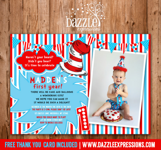 Dr Seuss Inspired Birthday Invitation 4 - FREE thank you card included