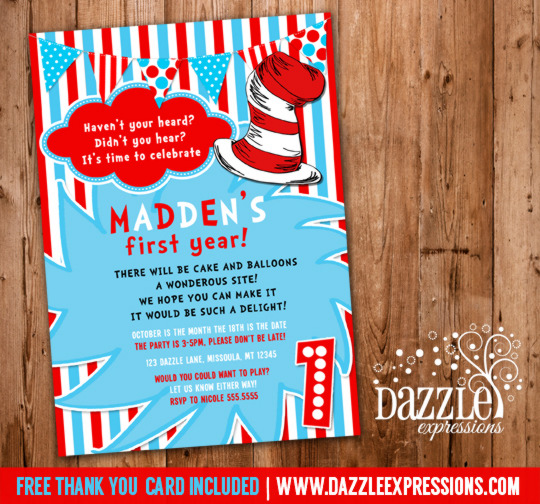 Dr Seuss Inspired Birthday Invitation 3 - FREE thank you card included