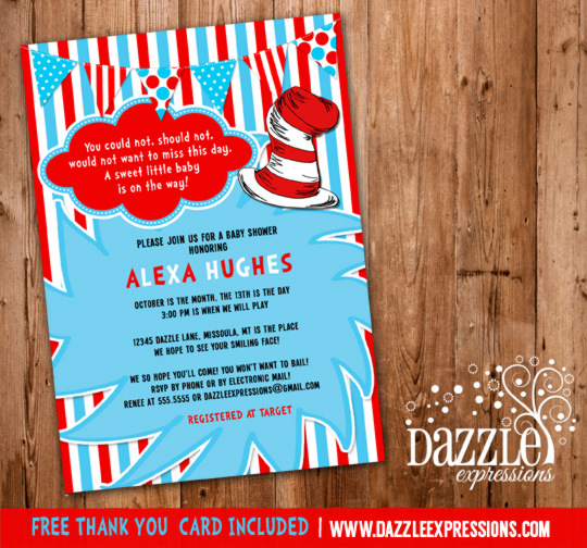 Dr. Seuss Inspired Baby Shower Invitation 2 - Thank You Card Included