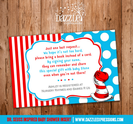 Dr. Seuss Inspired Baby Shower Insert Card