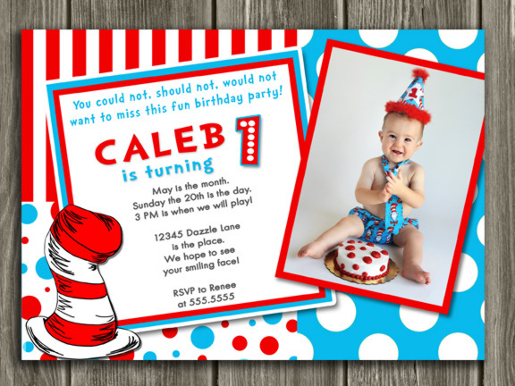 Printable Dr Seuss Inspired Birthday Invitation Cat in the Hat
