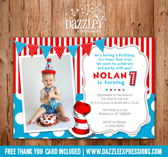 Dr Seuss Inspired Birthday Invitation 1 - Thank You Card Included