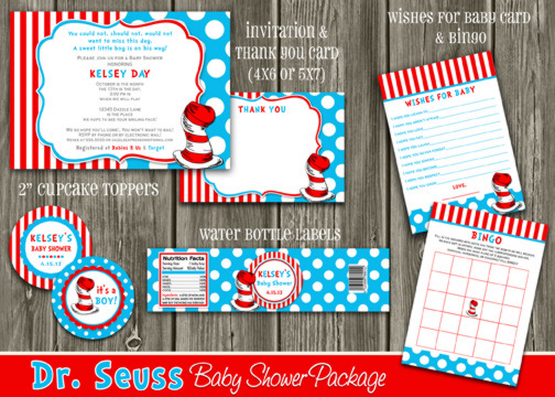 Dr Seuss Inspired Baby Shower Package - Printable