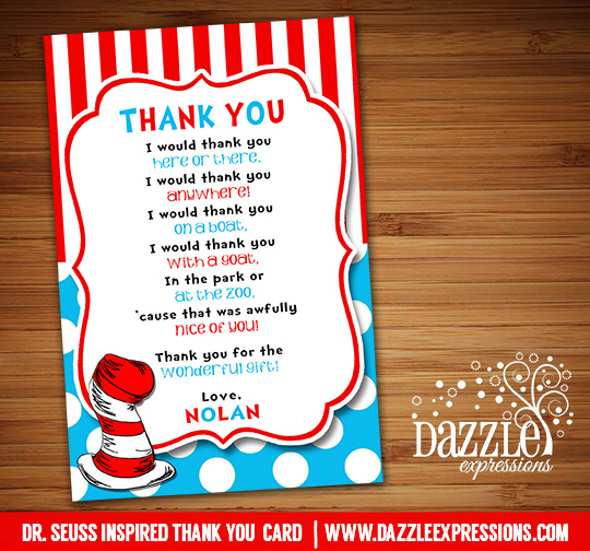 Dr. Seuss Inspired Thank You Card 2