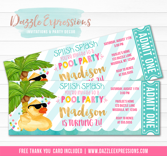 Duck Float Pool Party Ticket Invitation 3 - FREE thank you card included