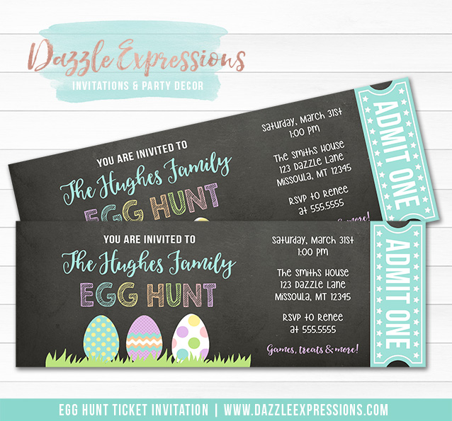 Egg Hunt Chalkboard Ticket Invitation