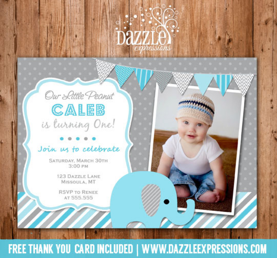 Elephant Birthday Invitation 4 - Blue and Gray - Thank You Card Included