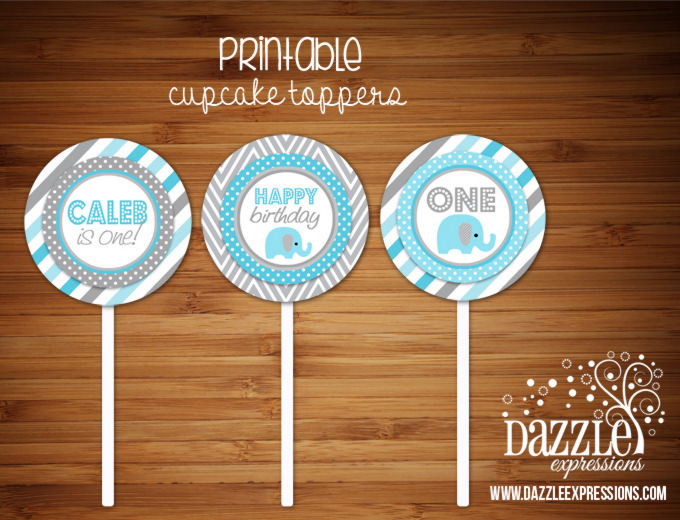 PRINTABLE Blue and Gray Elephant Cupcake Toppers