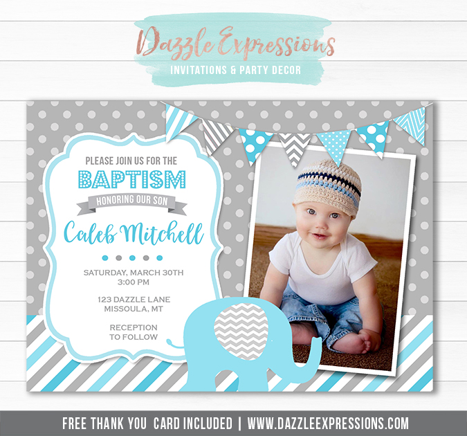 Elephant Baptism Invitation - FREE thank you card