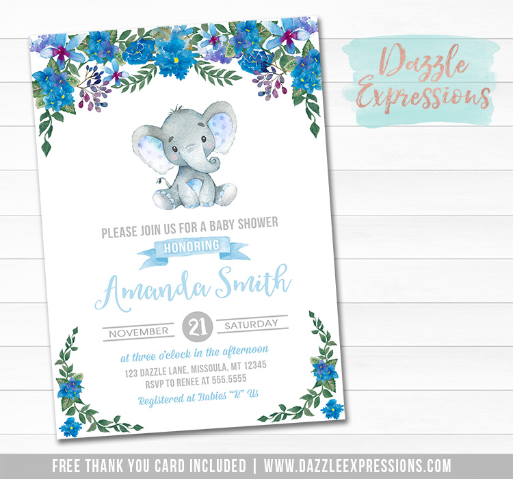 Elephant Floral Watercolor Baby Shower Invitation 2 - FREE thank you card