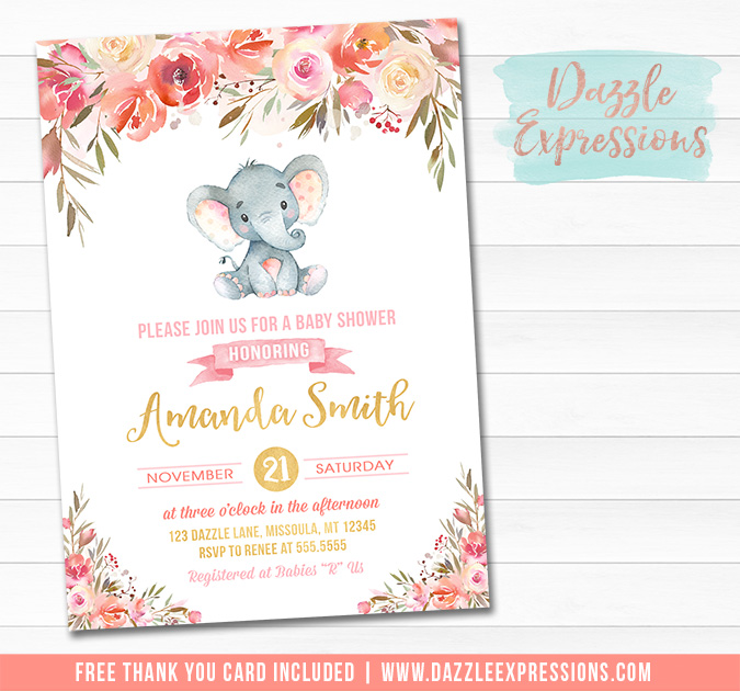 Elephant Floral Watercolor Baby Shower Invitation 1 - FREE thank you card