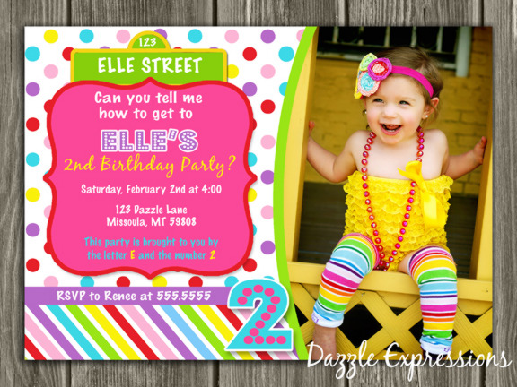 Colorful Street Sign Birthday Invitation 2