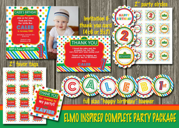 Sesame Street or Elmo Inspired Complete Party Package - Printable