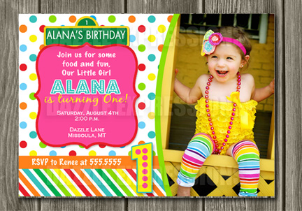 Colorful Street Sign Birthday Invitation 3 - Thank You Card Included