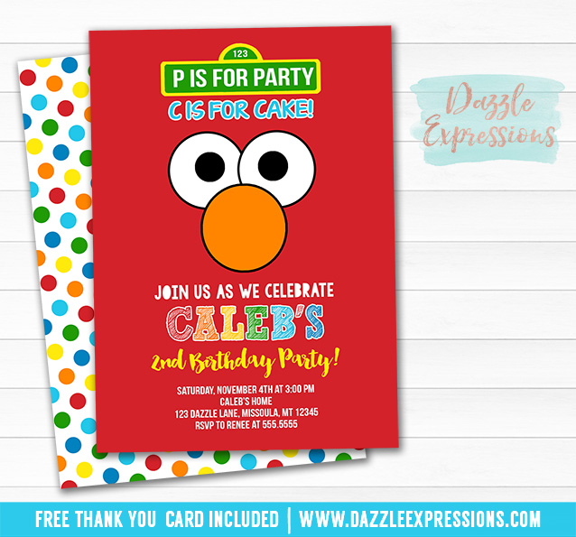 Elmo Inspired Invitation 1