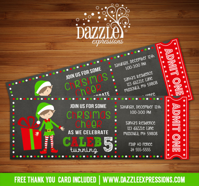 Elf Chalkboard Ticket Birthday Invitation - FREE thank you card included