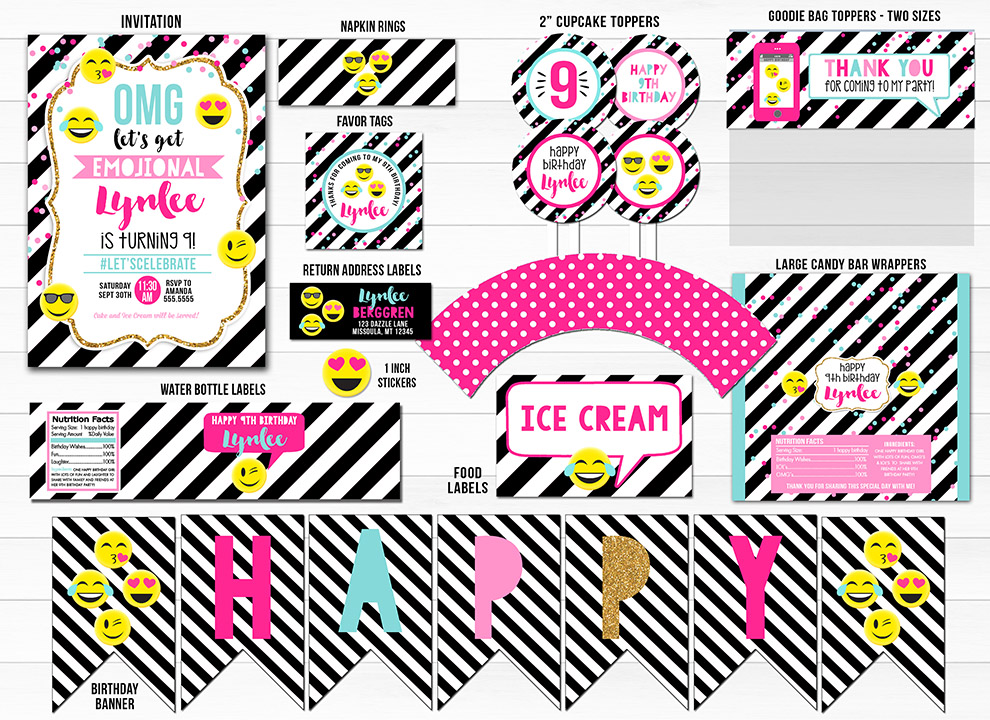Emoji Black And White Stripe Complete Party Package