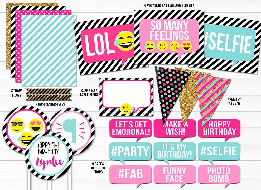 Emoji Black and White Stripe Complete Party Package - Printable