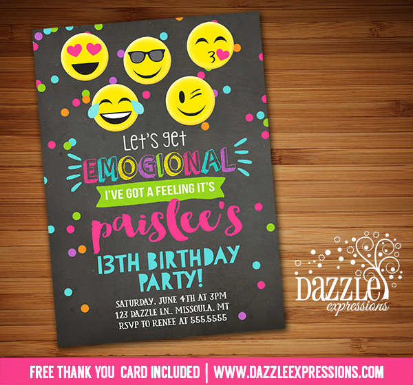 Printable Emogional Chalkboard Birthday Invitation  Smiley Face