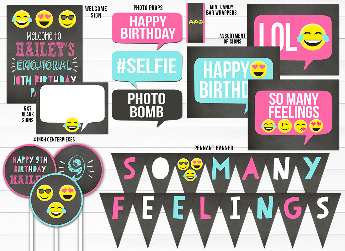 Emojional Chalkboard Complete Party Package