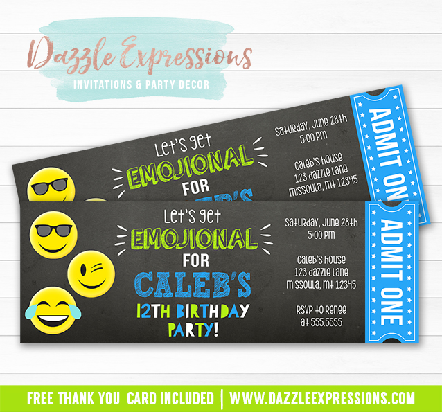 Emojional Chalkboard Ticket Invitation 2