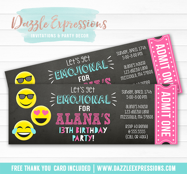 Printable Tween Emoji Chalkboard Ticket Invitation  Teenager
