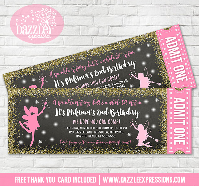 Fairy Glitter Ticket Invitation 2 - FREE thank you card included