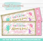 Fairy Glitter Ticket Invitation 3 - FREE thank you card included