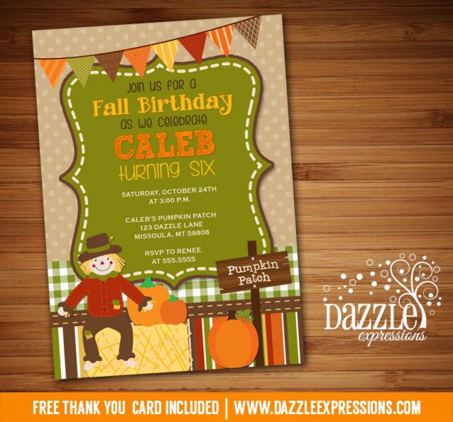 Fall Festival Birthday Invitation 2 - Thank You Card Included