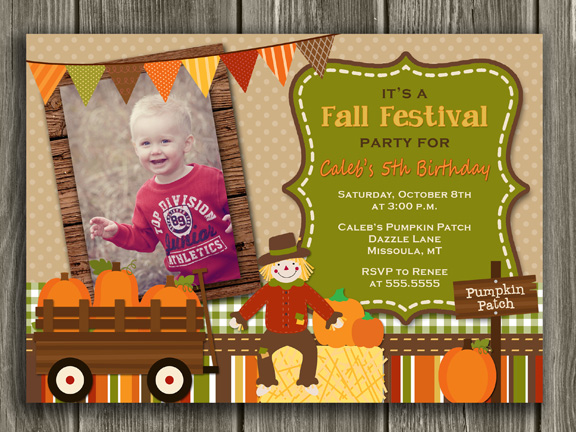 fall pumpkin birthday photo invitation  festivalharvest  october, Birthday invitations