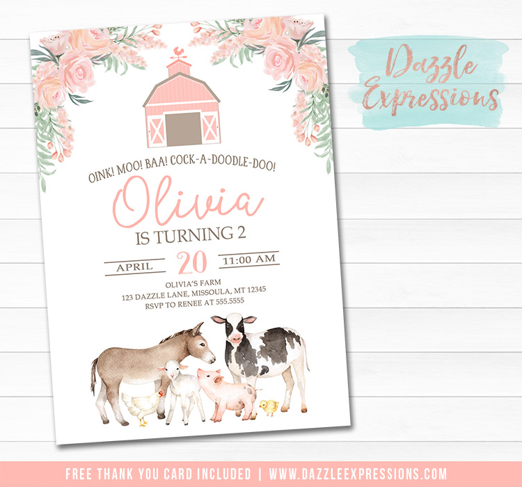 Farm Watercolor Invitation 1 - FREE thank you card