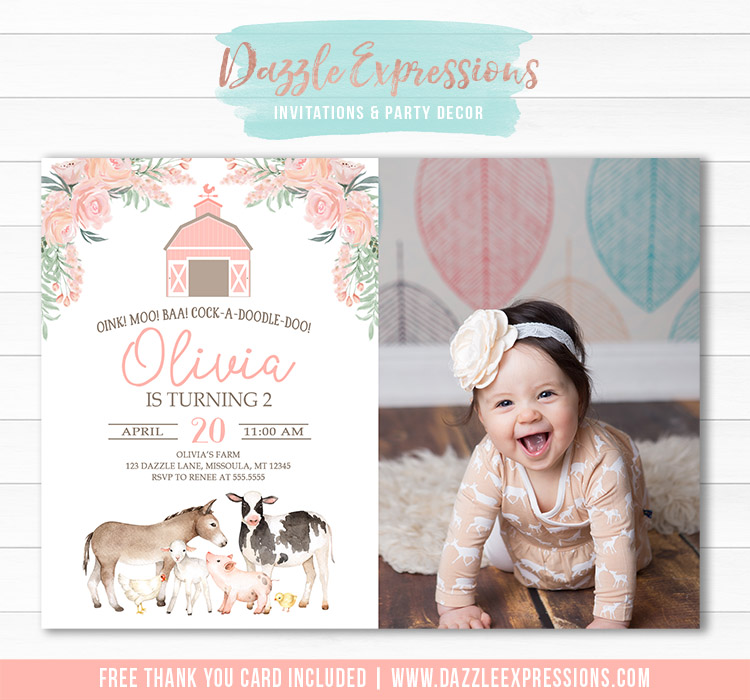 Farm Watercolor Invitation 2 - FREE thank you card