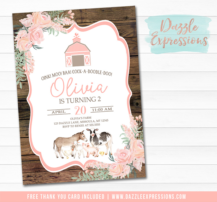 Farm Watercolor Invitation 3 - FREE thank you card