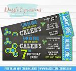 Fidget Spinner Inspired Chalkboard Ticket Invitation - FREE thank you card