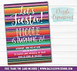 Mexican Blanket Fiesta Birthday Invitation - FREE thank you card