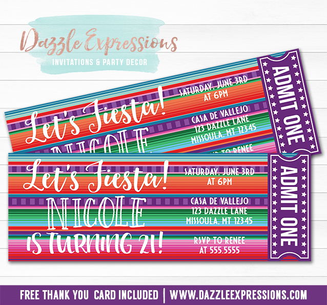 printable mexican blanket fiesta ticket birthday invitation