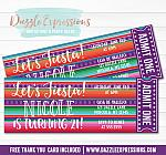Mexican Blanket Fiesta Ticket Invitation - FREE thank you card