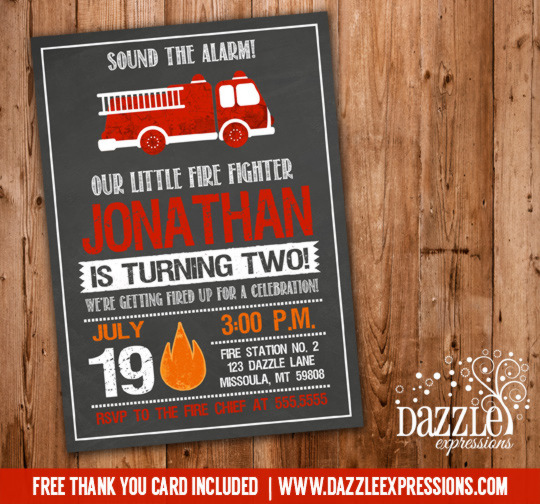 Fire Truck Chalkboard Birthday Invitation - No Photo - FREE thank you card included