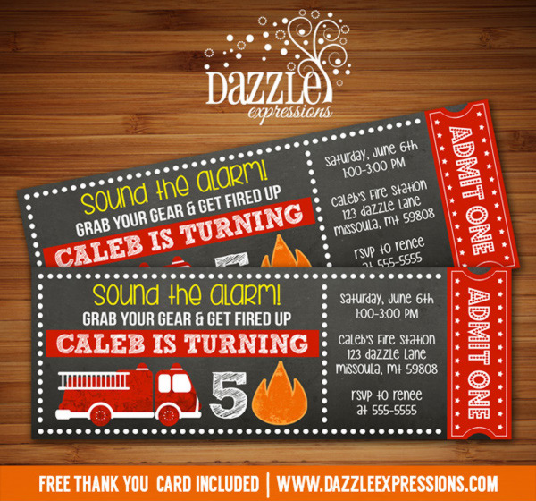 printable fire truck chalkboard ticket birthday invitation digital