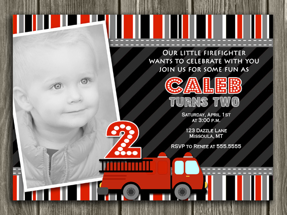 Fire Truck Birthday Invitation - Thank You Card Included