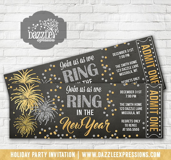 printable gold and silver fireworks new years eve